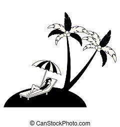 woman on deck chair umbrella beach palm vector illustration...
