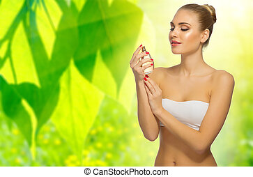 Woman on floral background
