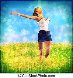 Woman on grass field