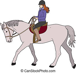 Woman on gray horse