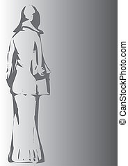 woman on grey background