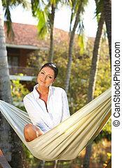 Woman on hammock