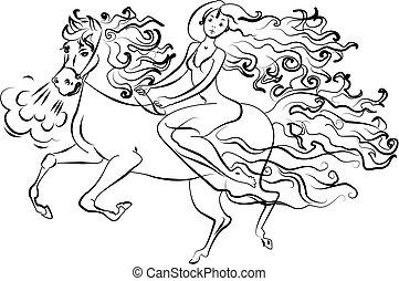 Woman on horseback vector