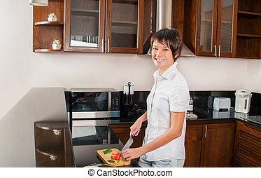 Woman on kitchen