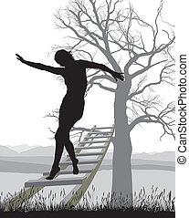 Woman on ladder