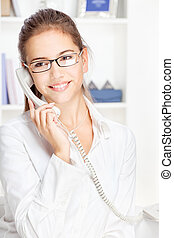 Woman on land line call