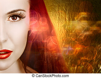 woman on lights background.
