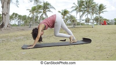 Woman on mat in park practicing yoga - Side view of young...