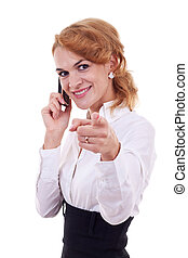 woman on mobile phone pointing