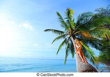 woman on palm