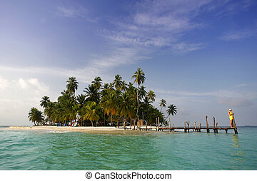 Woman on a tropical island jetty