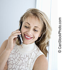 Woman on phone.