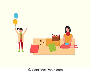 Woman on Picnic on Blanket, Child with Balloons