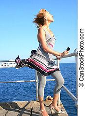 Woman on pier