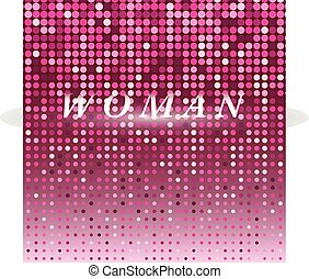 Woman on pink dot halftone abstract background