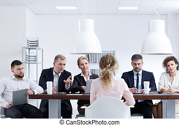 Woman on recruitment review