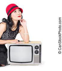 Woman on retro TV. Fifties copyspace broadcast