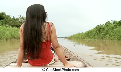 Woman on River, Amazon - Paddeling On Amazon River