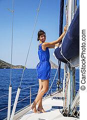 Woman on sailboat