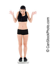 woman on scales - picture of woman on scales over white