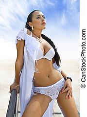 woman on sea shore a