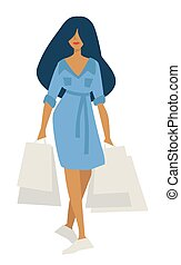 Woman on shopping with bags in denim dress isolated character