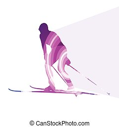 Woman on ski silhouette illustration background colorful concept