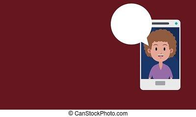 Woman on smartphone HD animation