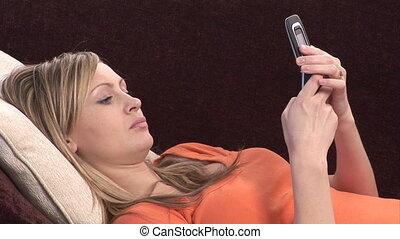 Woman on Sofa phone