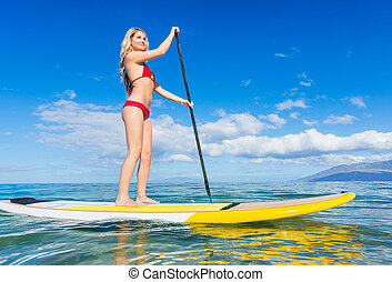 Woman on Stand Up Paddle Board - Attractive Woman on Stand...
