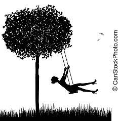 woman on swing - silhouette of woman on swing