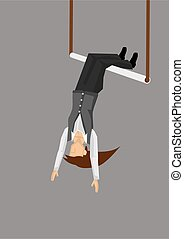 Woman on Swinging Trapeze Vector Illustration - Vector ...