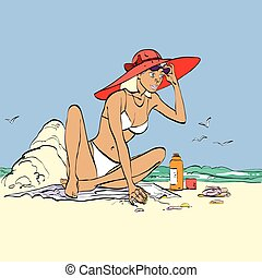 Woman on the beach hands drawn vector illustration. The girl...