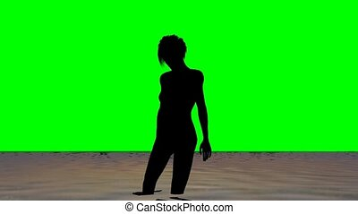 woman on the beach in the sunset on green screen