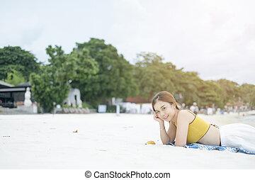 Woman on The beach.