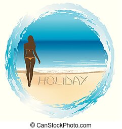 Woman on the beach, summer holiday concept