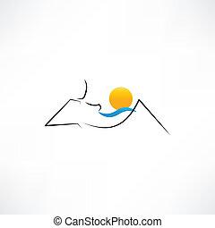 Woman on the beach with sun