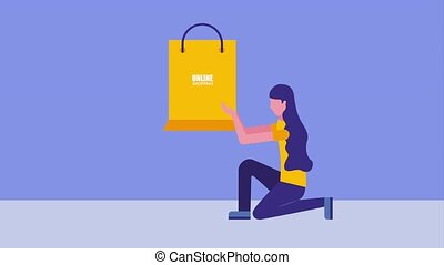 woman on the knee holding paper bag online shopping icon vector ilustration