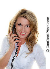 Woman on the phone a customer service hotline