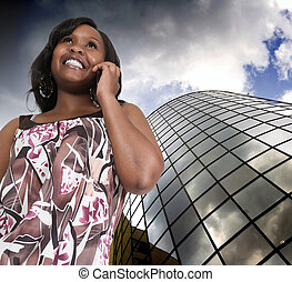 Woman on the Phone - Beautiful woman talking on a cell phone