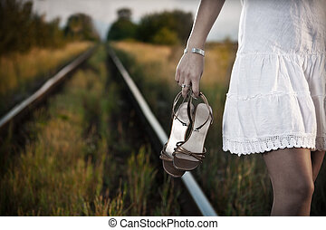 woman on the railway