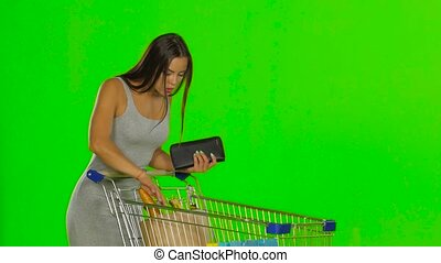 Woman on the shopping controls the funds in the wallet....