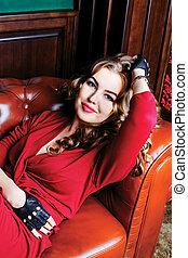 woman on the sofa