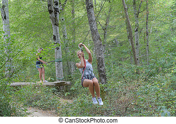 woman on the zipline