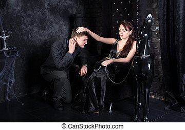 Woman on Throne with Kneeling Man and Dog Statue