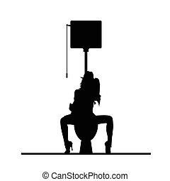 woman on toilet hygiene vector silhouette illustration