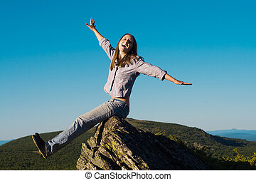 Woman on top of the wold - Happy woman on top of the wold ...