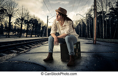 Woman on train station