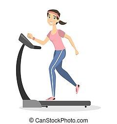 Woman on treadmill.