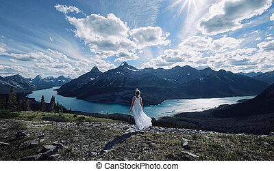 Woman on vacation in Canadian Rockies.